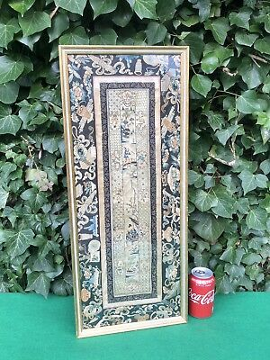 Beautiful Rare Antique 19th Century Framed Chinese Silk Embroidery Panel