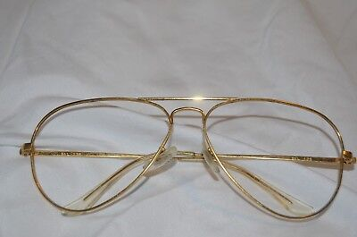 Vintage Bausch & Lomb Ray-Ban Gold Avaitor Frame 58-14-135 With Case Rx-Able New