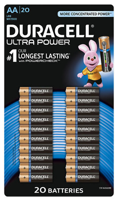 GENUINE 20x DURACELL AA ULTRA POWER ALKALINE BATTERIES WITH LONG POWERCHECK TEST
