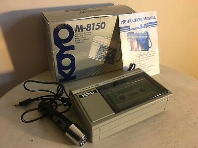 Vintage Koyo M-8150 Mini Cassette Tape Recorder With Microphone & Instructions