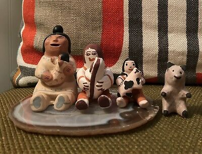Lot Of 4 Pieces- Native American-3 Storytellers & A Bear