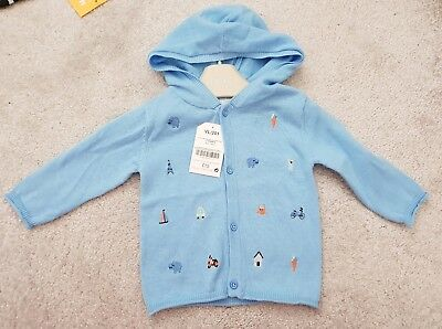 Next Baby - 100% Cotton Cardigan - Baby Blue - BNWT - 3-6 Months - rrp £15