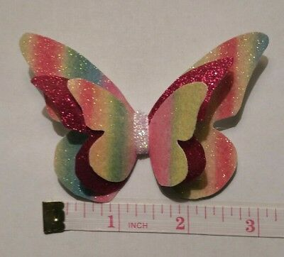 "3"" Plastic, Butterfly Hair Bow Template Make Your Own Glitter fabric Bows"