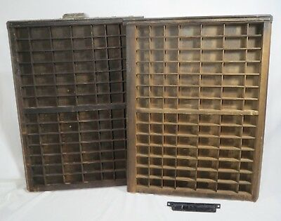 VINTAGE 2 Wooden Printers Tray Letterpress Type Case Drawers