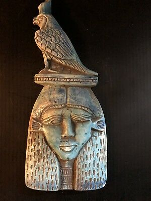 rare ancient egyptian Porcelain Queen Hatshepsut Mask With Horus (1336 -1326 BC)
