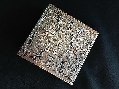 Antique Italian Art Deco Engraved Fine Silver Powder Compact & Lipstick holder