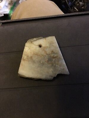 Original Neolithic Stone Chinese White Jade or Serpentine Toggle Pendant No Res.