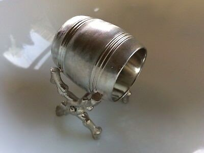 VTG Victorian Repro Silver Plate Figural Napkin Ring Barrel on Branches Plated