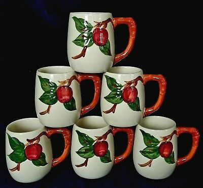 (LOT of 6) Franciscan USA Pottery Apple Large Mugs w Old Mark