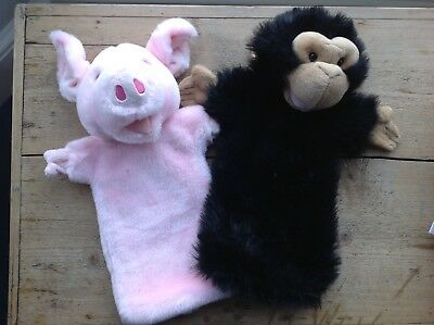 2x The Puppet Company Puppets Pig and Monkey