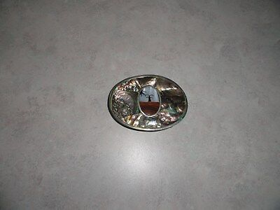 VINTAGE 1970's INLAID ABALONE SHELL  BELT BUCKLE MEXICO