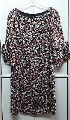48c2026cd437 H&M Black / Floral Shift Tunic Dress 3/4 Flounce Sleeve Women's Size ...