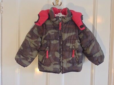 MINI BODEN Boys Winter Padded Coat Detachable Hood Sleeves 18-24 Months