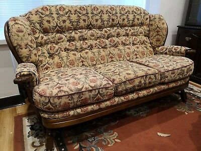Set of two floral vintage style three seater sofa with wooden frame upholstery