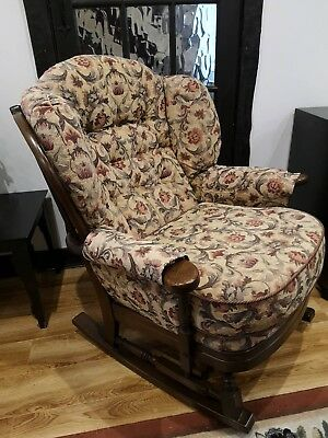 Unique rocking chair with vintage style tapestry upholstery; wooden frame