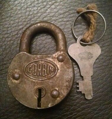 Vintage Antique Corbin Brass Padlock Lock Good Condition With Key Made In Usa