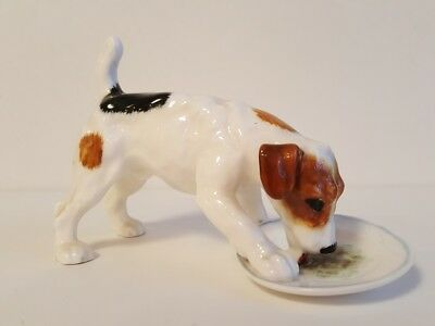 Royal Doulton Jack Russell Dog Figurine Eating From Plate Hn 1158 Discontinued