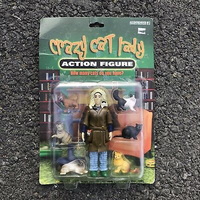 Crazy Cat Lady Action Figurine + 6 Cat Figurines Sealed NOS