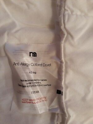 Mothercare Anti Allergy Cotbed Duvet