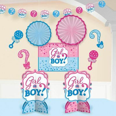 10 Piece Gender Reveal Decorating Kit - Great for Baby Shower Decorations