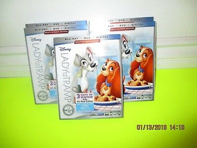 Lady And The Tramp  (Blu-Ray + Dvd + Digital Hd)  With Slipcover