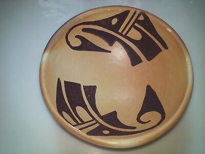 Vintage Native American Hopi Pottery Shallow Bowl, c. 1960's