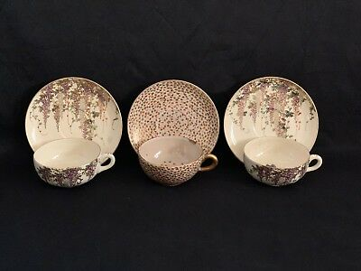 3 Antique Japanese Satsuma Pottery Cup & Saucer Sets Wisteria Thousand Butterfly