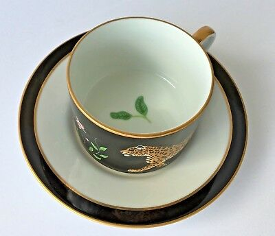 Lynn Chase Jaguar Jungle Cup & Saucer Set - Mint never used condition Tea Coffee