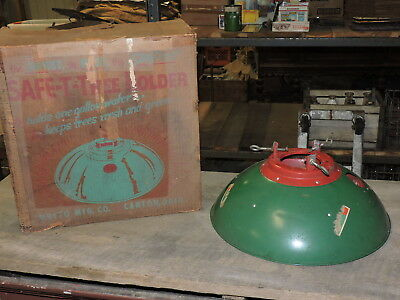 Vintage Safe-T-Tree Holder, Metal Christmas Tree Stand in Box, 1950s, (VE)