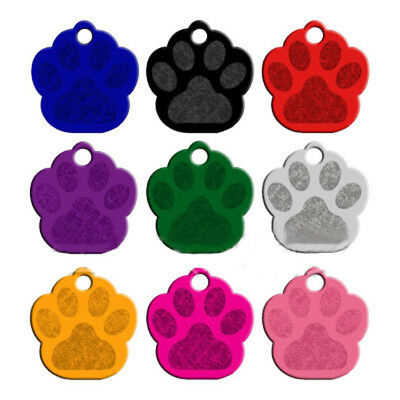 Personalised Paw Puppy Foot Glitter Reflective Id Dog Pet Tags Engraved Collar