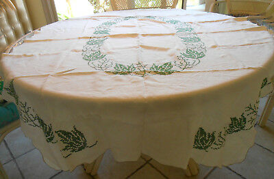 """Vintage handmade cotton tablecloth, white w/green leaves cross stitch, 48"""" x 64"""""""