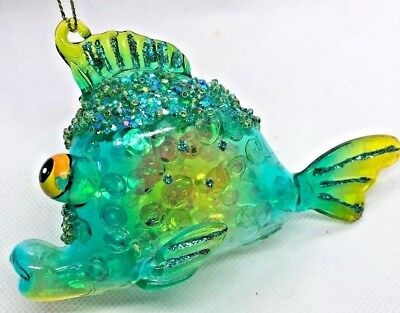 ROBERT STANLEY Very Merry Vacation Glass Green Parrot Fish Ornament ~ NEW