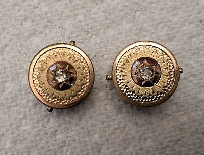 ANTIQUE VERY RARE PAIR of YELLOW GOLD PLATED CUFFLINKS MARKED PATENT NOV 10 1875