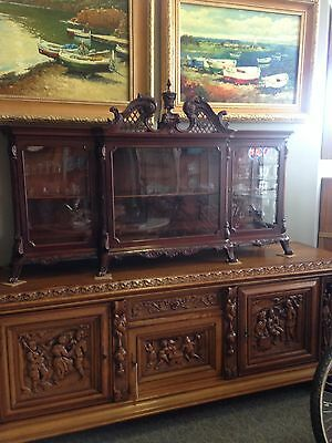 1880's Mahogany Hand Carved Hutch-Gallery