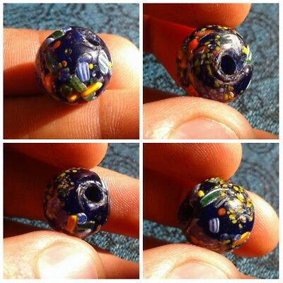 An ancient large glass bead jewelry Kievan Rus Vikings decorated very rare color