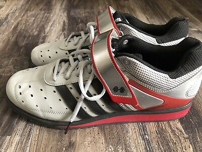 Mens Adidas PowerLift Trainer Weightlifting Shoes G45632 Gray Black Size  10.5 629e797246ad