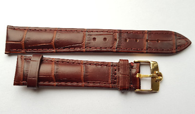 New 18mm Brown Genuine Leather Watch Strap / Gold Plated Buckle For Omega (S-5)