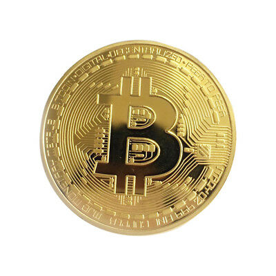 Gold Bitcoin Commemorative Round Collector Coin Bit Coin Gold Plated BTC Coin