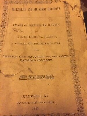 1852 Maysville And Big Sandy Railroad Booklet (rough) Kentucky Ky