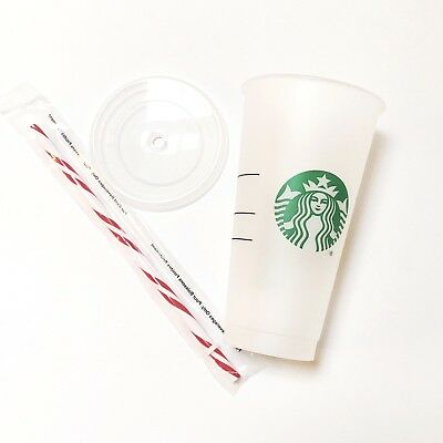 New Starbucks Frosted Holiday Reusable 24 Oz Venti Cold Cup Candy Cane Straw