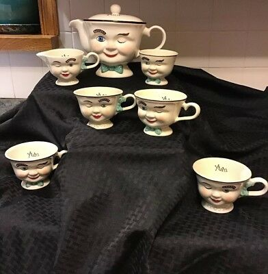 1996 Limited Edition Baileys Irish Cream Winking Teapot Creamer Sugar Cups 7 Pc