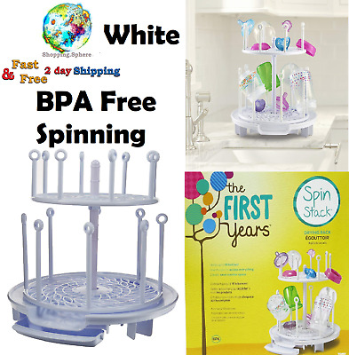 Baby Feeding Bottles Drying Rack Spinning Stack Holder Dryer Storage Organizer