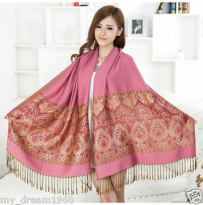 New Fashion Women's Pink Paisley Flower Warm Pashmina Shawl Wrap Stole Scarf