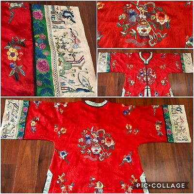 Very Fine Antique Qing Dynasty Silk Hand Embroidered Robe Figural Floral