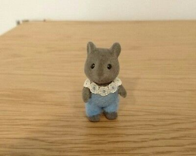 Vintage Sylvanian Families 1985 Calico Critters Gray Mouse Baby Initial Japan