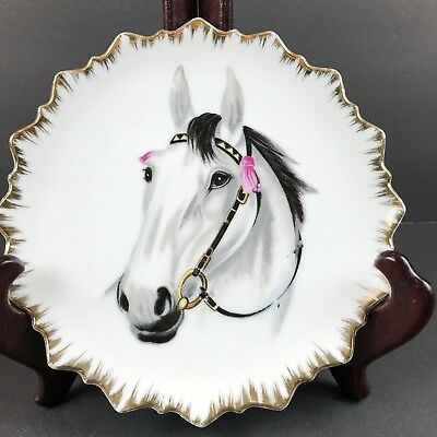 Vintage Bone China Collector Plate Hand Painted Horse Scalloped Edge Gold Trim