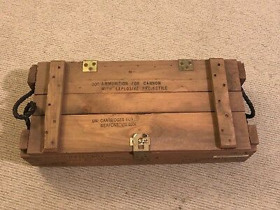 Vintage Military Wooden Ammo Crate Box Ammunition Cannon Explosives Projectiles