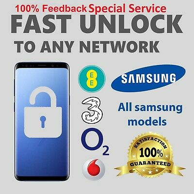 UNLOCK CODE SAMSUNG S9 S8 S7 S6 Edge Note Plus Edge UK VODAFONE 3 O2 EE 1-3Hrs