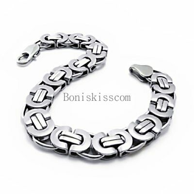 11mm Heavy Silver Flat Byzantine Stainless Steel Men's Boys Chain Bracelet 8.5""