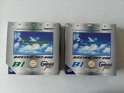 2 Braniff 727-200 die cast green and blue airliner models MIB FREE SHIPPING